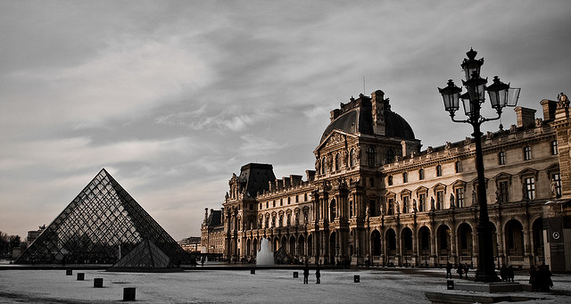 Louvre, Paris - under snow Photo: mireira via flickr.com