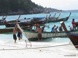 Tourists arriving at Pattaya Beach, Koh Lipe, Thailand