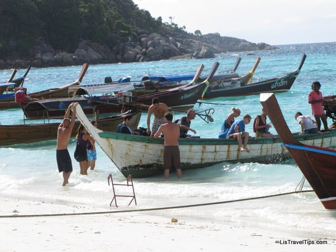 Tourists arriving at Pattaya Beach, Koh Lipe, Thailand